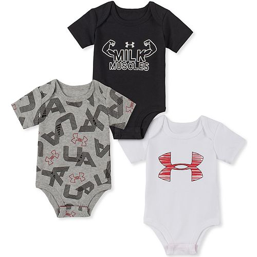Baby Boy Under Armour Milk Muscles Bodysuits 3pk