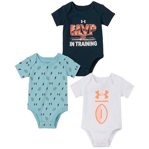 Baby Boy Under Armour MVP Bodysuits 3pk