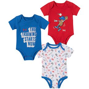 Baby Boy Under Armour Peanut Bodysuits 3pk