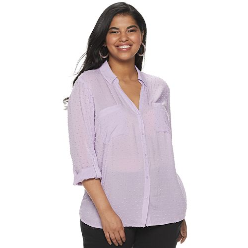 Juniors' Plus Size Candie's® Roll-Tab Blouse