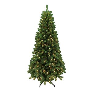 St. Nicholas Square 7-ft. Green Sprice PVC with Clear Lights