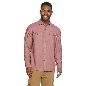 Men's Hi-Tec Hazel Modern-Fit Solid Stretch Flannel Button-Down Shirt