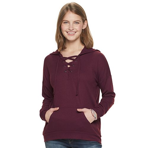Juniors' Pink Republic Long Sleeve Lace-Up Knit Top
