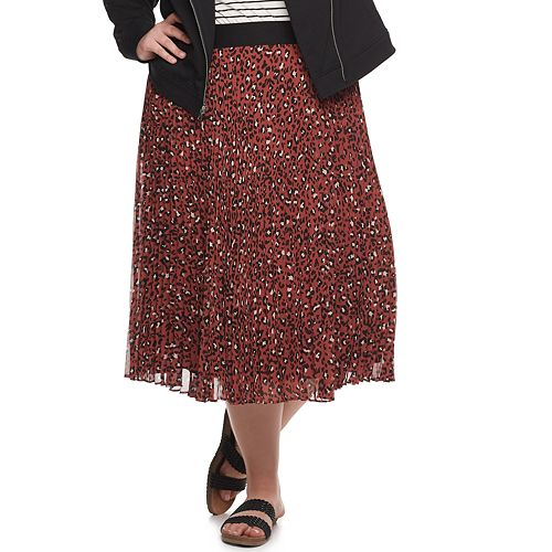 Plus Size EVRI Pleated Print Skirt
