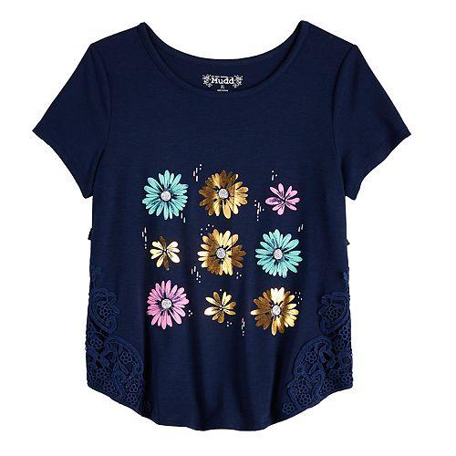 Girls' 7-16 & Plus Size Mudd® Crochet Side Tee