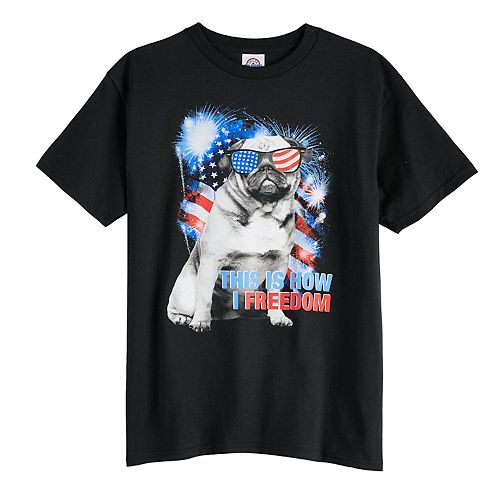 "Boys 8-20 Pug ""This Is How I Freedom"" Tee"