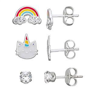 Charming Girl Kids' Swarovski Crystal Rainbow Earrings - Set of 3