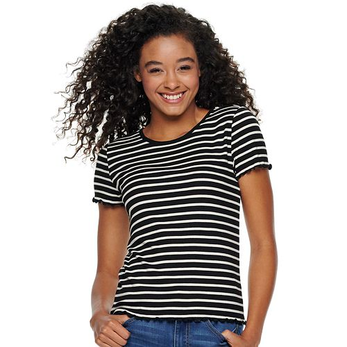 Juniors' SO® Ribbed Baby Tee