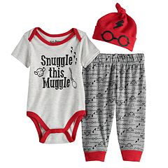 08325873c Boys LICENSED CHARACTER HARRY POTTER SNUGGLE THIS MUGGLE SET-INCLUDES  BODYSUIT, HAT AND PANTS