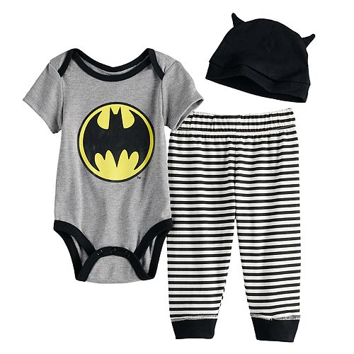 Baby Boy Batman 3-Pack Set Includes Bodysuit, Hat and Pants