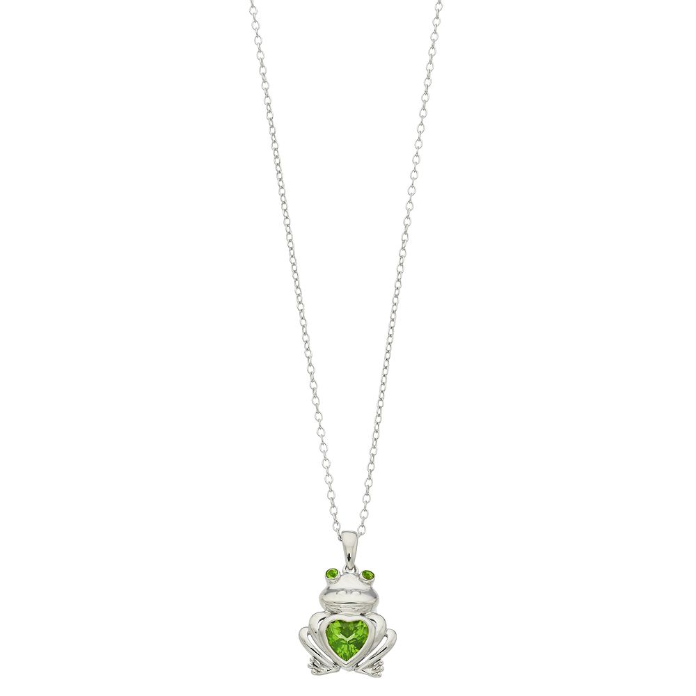 Genuine Peridot Sterling Silver Frog Pendant Necklace