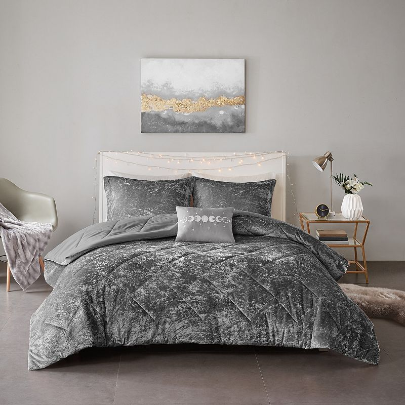 Intelligent Design Isabel Velvet Comforter Set, Grey, Full/Queen