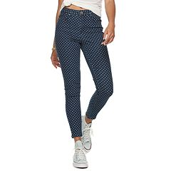 Juniors' Almost Famous Printed High Rise Skinny Jeans