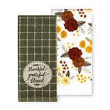 """Celebrate Fall Together """"Thankful, Grateful, Blessed"""" Kitchen Towel 2-pk."""