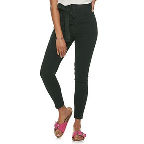 Juniors' Almost Famous Super High Rise Tie Waist Skinny Jeans
