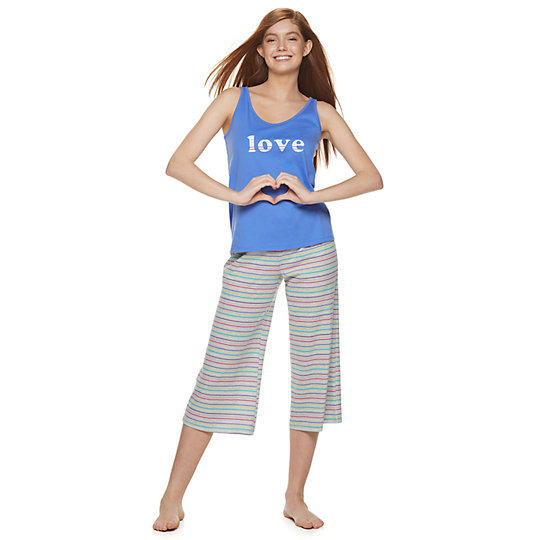 4e2abc1da602 Juniors' SO® Sleep Tank & Crop Pajama Pants Set