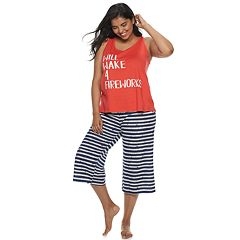 Juniors' Plus Size SO® Sleep Tank & Crop Pajama Pants Set