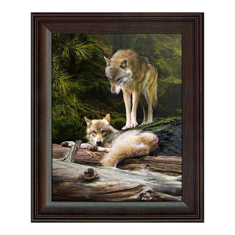 Wolf Couple Framed Behind Glass Wall Art, 14X17