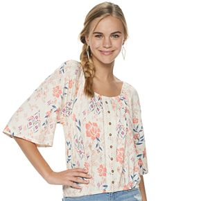 Juniors' Mudd® 3/4 Sleeve Peasant Top