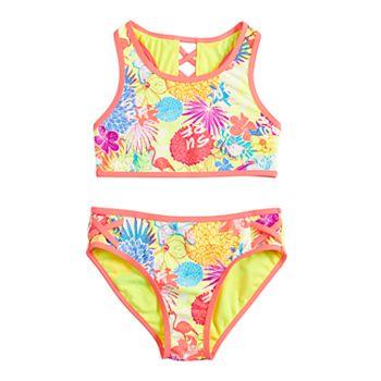Girls 7-16 Tropical Floral High Neck & Ladder Back Top & Bottoms Swimsuit Set