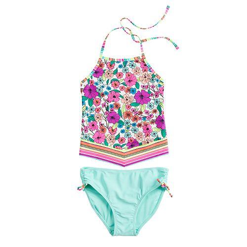 Girls 7-16 Handkerchief Hem Tankini Top & Bottoms Swimsuit Set