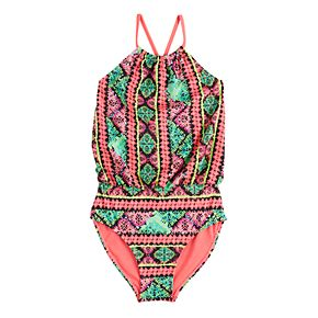 Girls 7-16 Blouson High Neck One-Piece Swimsuit