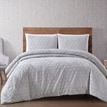 Brooklyn Loom Chicago Woven Diamond 3 Piece Blush Duvet Cover Set