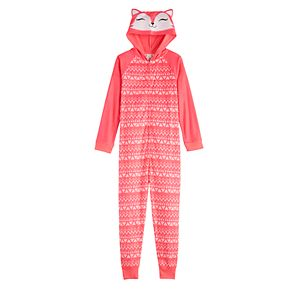 Girls 4-18 SO® Zip-Up Animal Print Hooded One-Piece Pajama