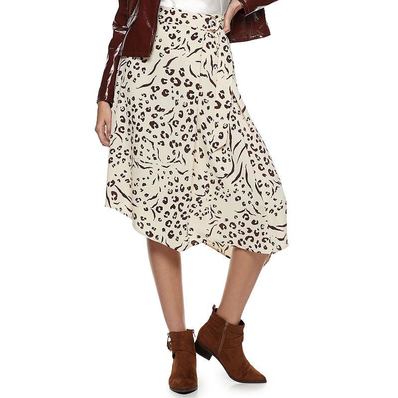 Women's Nine West Asymmetrical D-ring Belted Skirt, Size: XXL, Beig/Green