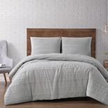 Brooklyn Loom Carlisle Stripe 3 Piece White Duvet Cover Set