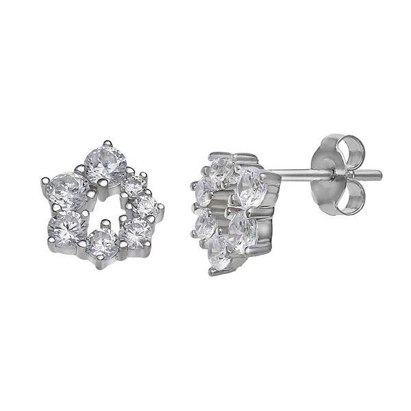 PRIMROSE Sterling Silver Cubic Zirconia Cluster Circle Earrings