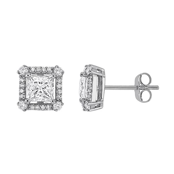 Stella Grace 10k White Gold 1/8 Carat Diamond & Moissanite Stud Earrings