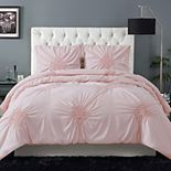 Christian Siriano Georgia Rouched 3-Piece White Full/Queen Comforter Set