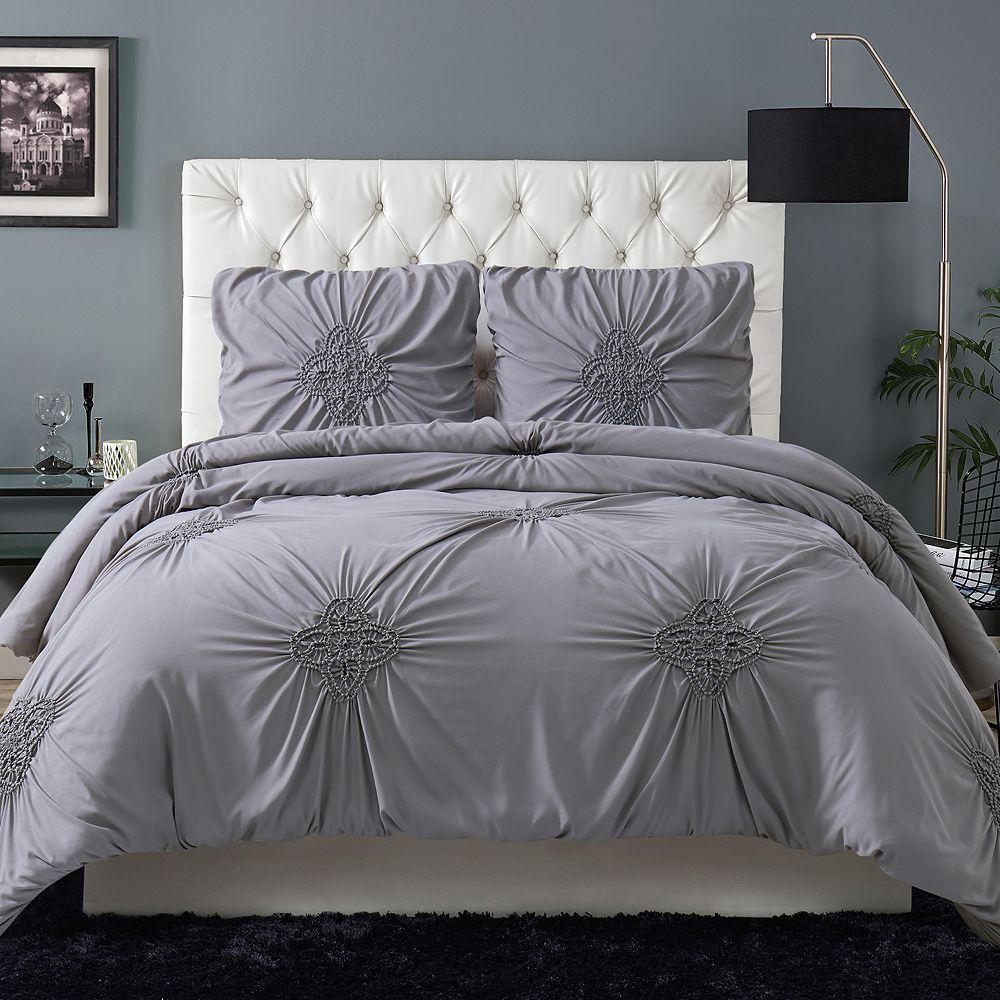 Christian Siriano Georgia Rouched 3-Piece Duvet Cover Set