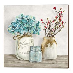 Metaverse Art Floral Composition with Mason Jars I Canvas Wall Art