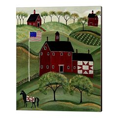 Metaverse Art American Red Quilt House Canvas Wall Art
