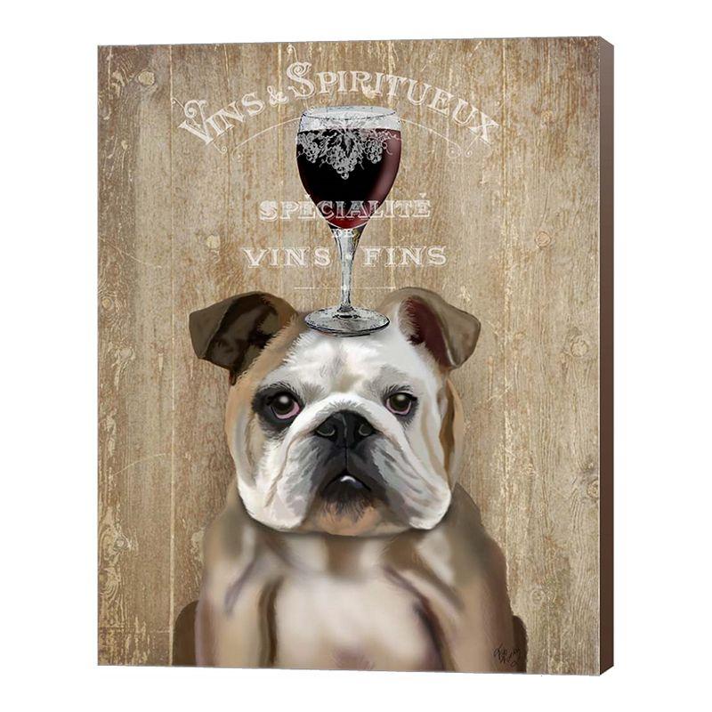 Metaverse Art Dog Au Vin, English Bulldog Canvas Wall Art, 22X28
