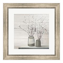 Metaverse Art 'Pussy Willow Still Life Gray Pots Shiplap' Framed Wall Art