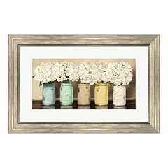 Metaverse Art 'Hydrangeas in Mason Jars' Framed Wall Art