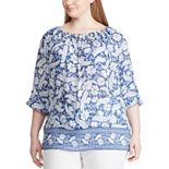Plus Size Chaps Blue Pearl Woven Tunic