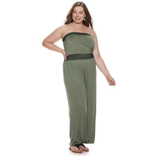 Juniors' Plus Size Mudd® Strapless Smock Jumpsuit