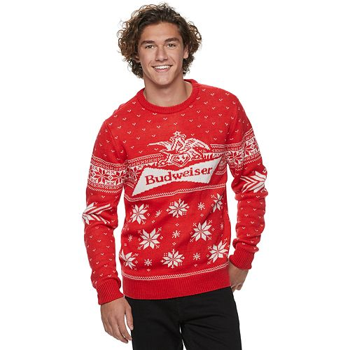 Men's Budweiser Christmas Sweaters by Licensed Character