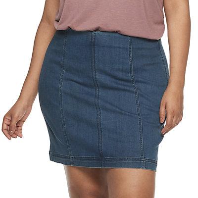 Juniors' Plus Size Mudd® Seamed Bodycon Denim Skirt