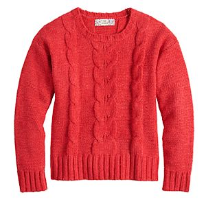 Girls 7-16 & Plus Size Pink Republic Chenille Cable Knit Sweater