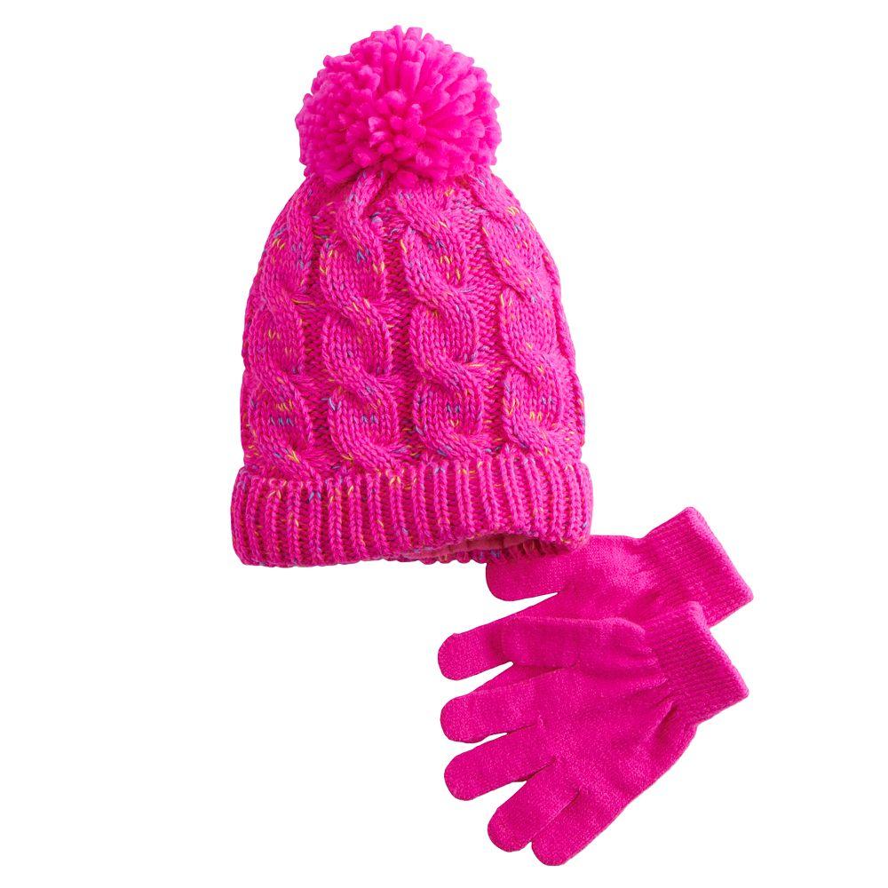 Girls 4-16 SO® Cable Knit Beanie & Magic Glove Set