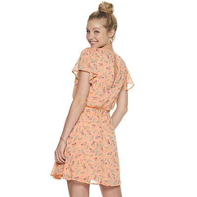 Juniors' Three Pink Hearts Godet Skater Dress