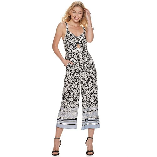 Juniors' Live To Be Spoiled Tie Front Jumpsuit