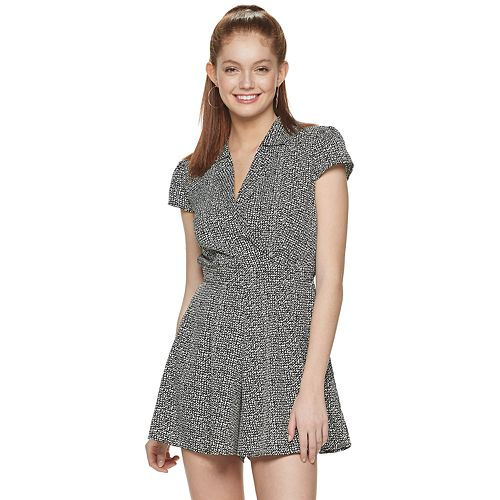 Juniors' Three Pink Hearts Collared Romper