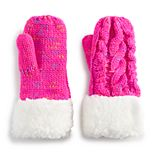 Girls 4-12 SO® Sherpa-Lined Cable Knit Mittens