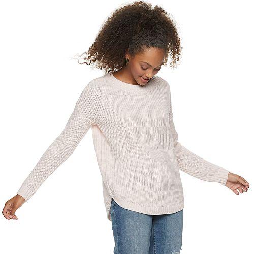 Juniors' SO® Shirttail Hem Pullover Sweater